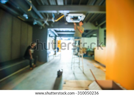 Blur Picture Construction Site - Construction work and Air Conditioning Technician