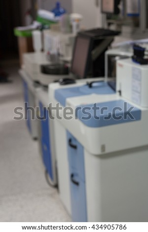 Blur picture look like laboratory automate analyzer