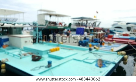 Blur picture of tuna fishing boat at the fish market