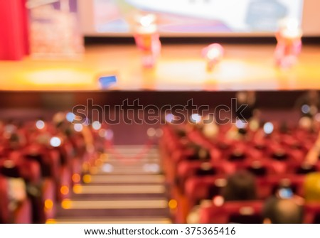 blur red auditorium or theater seat and stage - stock photo