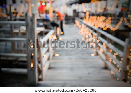 Blur Restaurant wooden bridge walkway with bokeh abstract background Bangkok, Thailand - stock photo