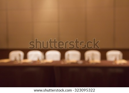 Blur row of white seat in conference room  for background