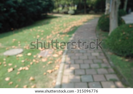 Blur series, blurry stone Pathway in shadow, covered with yellow leaves. - stock photo