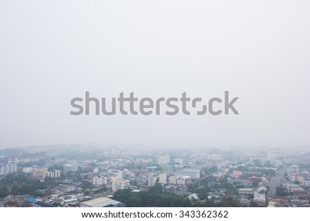Blur Smoke from forest fires covered city. Pollution air. - stock photo