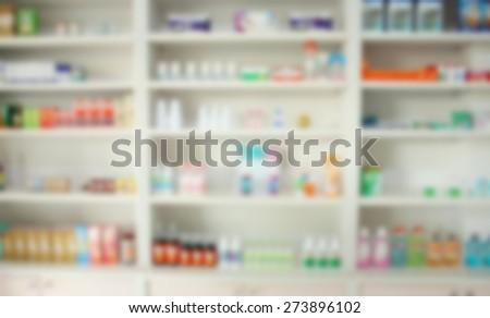 blur some shelves of drug in the pharmacy drugstore - stock photo