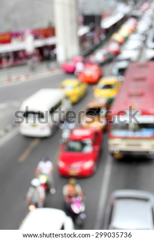 blur street bangkok color car bus taxi traffic way - stock photo