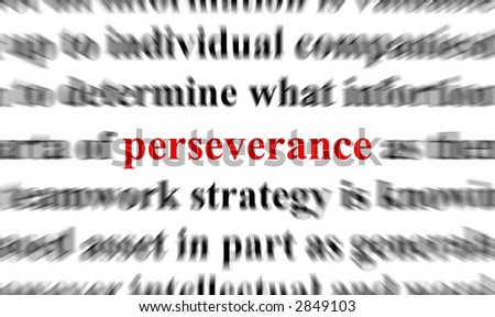 blur text with a focus on perseverance