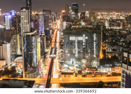 blur view of bangkok city skyline for background