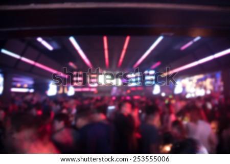 blured background night scene in party night club - stock photo