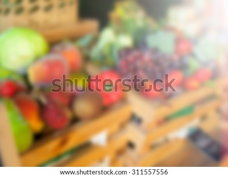 blured fruits and vegetables - stock photo
