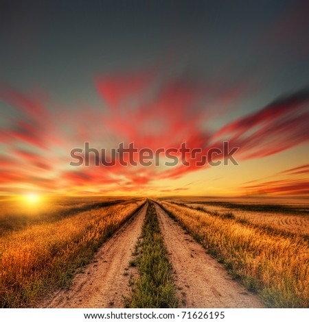 blured road and sky - stock photo