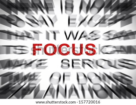 Blured text with focus on FOCUS - stock photo