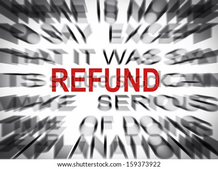 Blured text with focus on REFUND