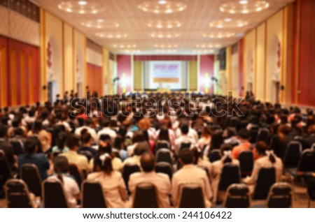 Blurred Abstract background international conference,meeting room for media design