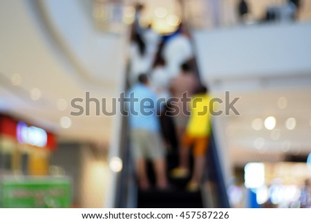 Blurred abstract background of Blurred abstract background of people on escalator - stock photo