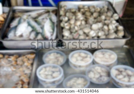 Blurred abstract background of Fresh seafood