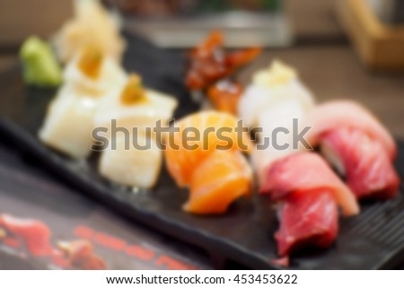Blurred abstract background of Japanese food