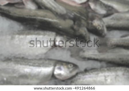 Blurred abstract background of Seafood sold