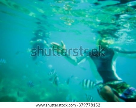 blurred abstract background  underwater bokeh and bubbles ,aquanaut,scuba diver show signal underwater in the sea ,can be used for background montage or display your products,sea and under water.
