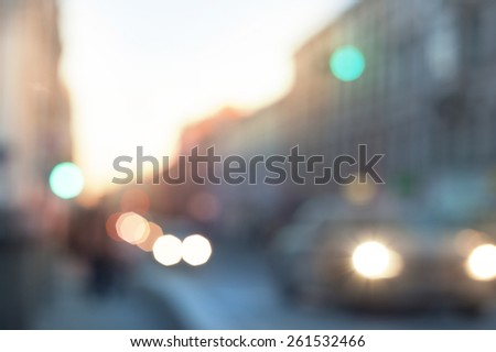 Blurred abstract urban background with defocused lights outdoor - stock photo