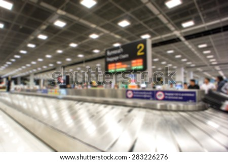 Blurred Background - Baggage Claim Area At Airport - stock photo
