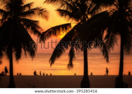 Blurred background: beautiful sunset in Karon beach  in Phuket, Thailand. Image with toning - stock photo