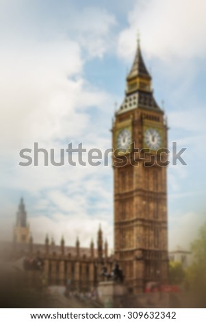 Blurred background: Big Ben in London, UK. Image with selective focus