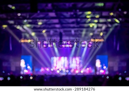 Blurred background : Bokeh lighting in concert with audience ,Music showbiz concept - stock photo