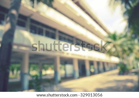 Blurred background : building on school in thailand - stock photo