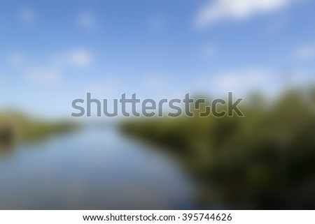 Blurred background - canal in the jungle - stock photo