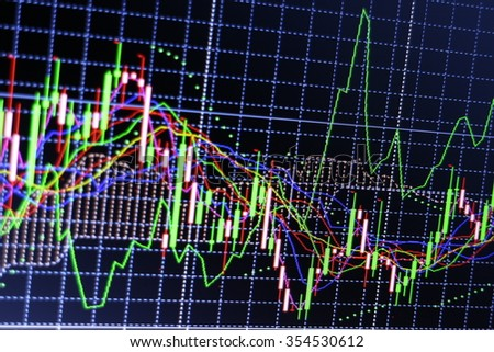 Blurred background Candle stick graph chart of stock market trading - stock photo