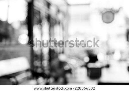 Blurred background : Coffee shop blur background with bokeh in garden - stock photo