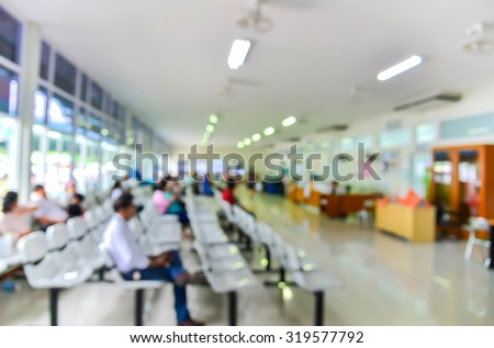 Blurred background : Groups of people queuing waiting medication in hospital. - stock photo