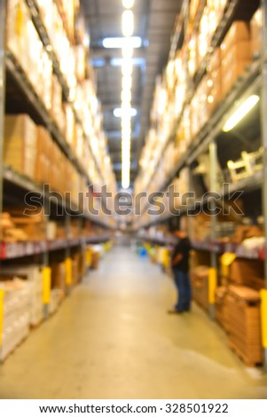 Blurred Background Image of Shelf in Warehouse or Storehouse