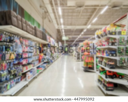 Blurred background in supermarket.
