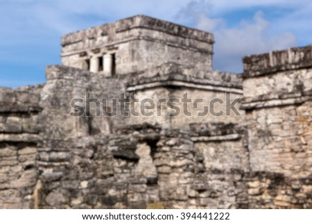 Blurred background of complex of Mayan origin at Tulum, Quintana Roo, Mexico. - stock photo