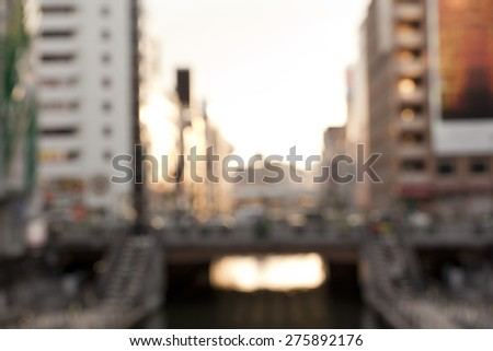Blurred background of Dotonbori canal,Osaka,Japan. - stock photo