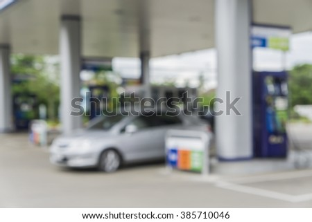Blurred background of gas station,out of focus gas station,Gas Station And Convenience Store - stock photo