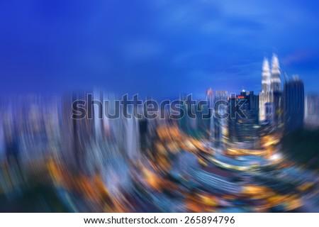 Blurred background of kuala lumpur cityscape - stock photo