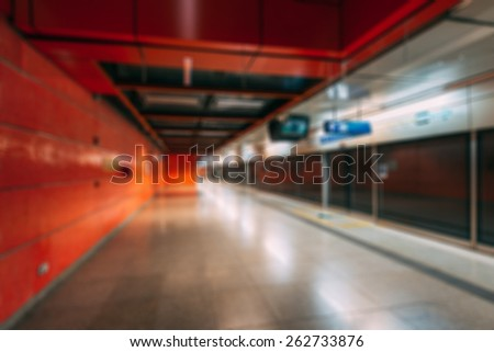 Blurred background of  metro station - stock photo