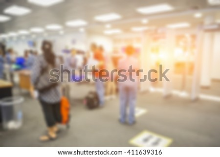blurred  background of Security Checkpoint - Body and Luggage Scan Machine vintage color - stock photo