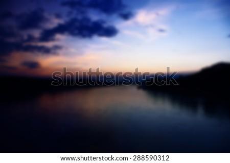 Blurred background of sunset on the Danube River in Bratislava, Slovakia - stock photo