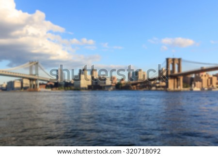 Blurred background of the view from the Two Bridges neighborhood in Manhattan towards Brooklyn in New York, NY, USA. - stock photo