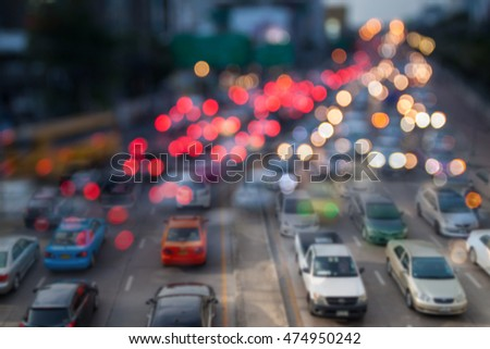 Blurred background of traffic jam with double exposure effect