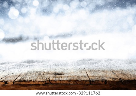blurred background of winter and ice snow and cold day of winter  - stock photo