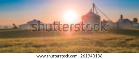 Blurred Background, Sunrise Over Farm - stock photo