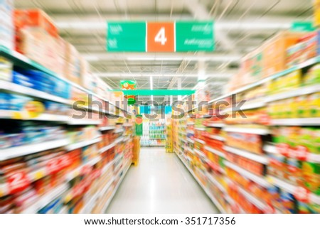 Blurred background : Supermarket store blur background ,Product shelf - stock photo