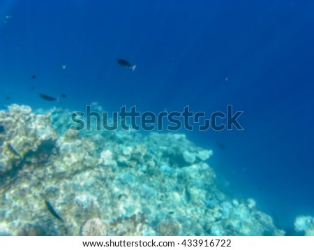 Blurred background The corals reef in the deep blue water in Maldive Island - stock photo