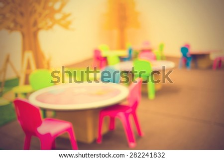Blurred background : Vintage filter. Art classes for kids - stock photo