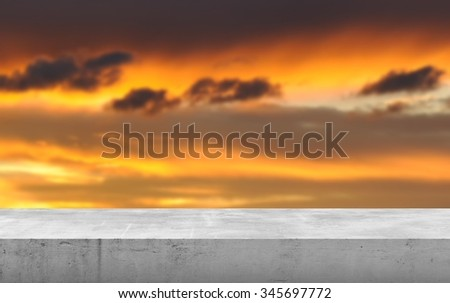 Blurred background with concrete stand.  - stock photo